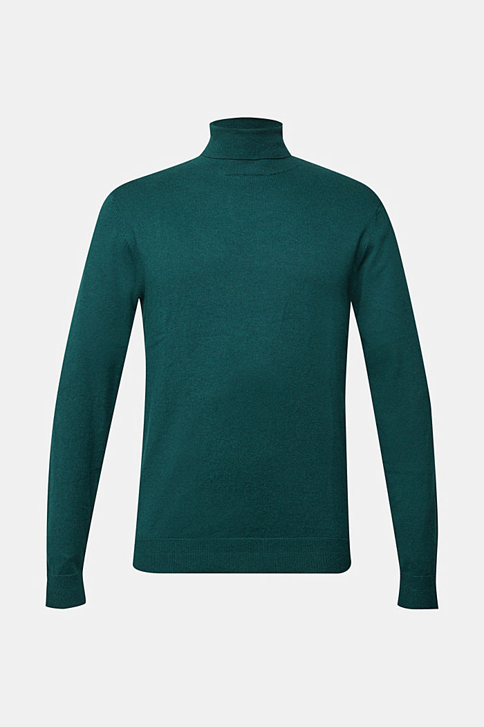 Polo neck jumper with cashmere, BOTTLE GREEN, detail image number 6