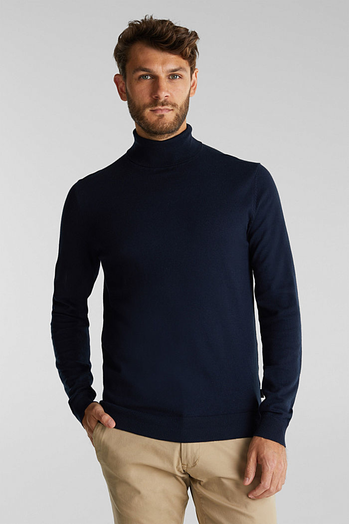 Polo neck jumper with cashmere, NAVY, detail image number 0