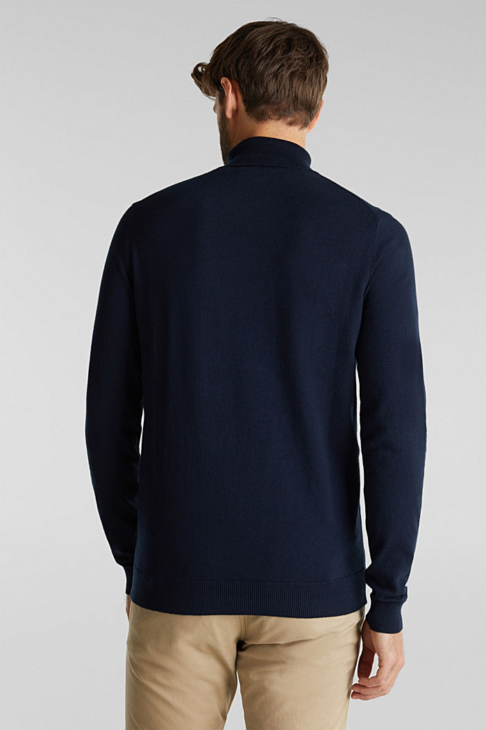Polo neck jumper with cashmere, NAVY, detail image number 3