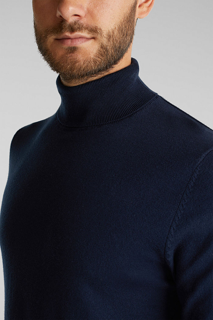 Polo neck jumper with cashmere, NAVY, detail image number 2