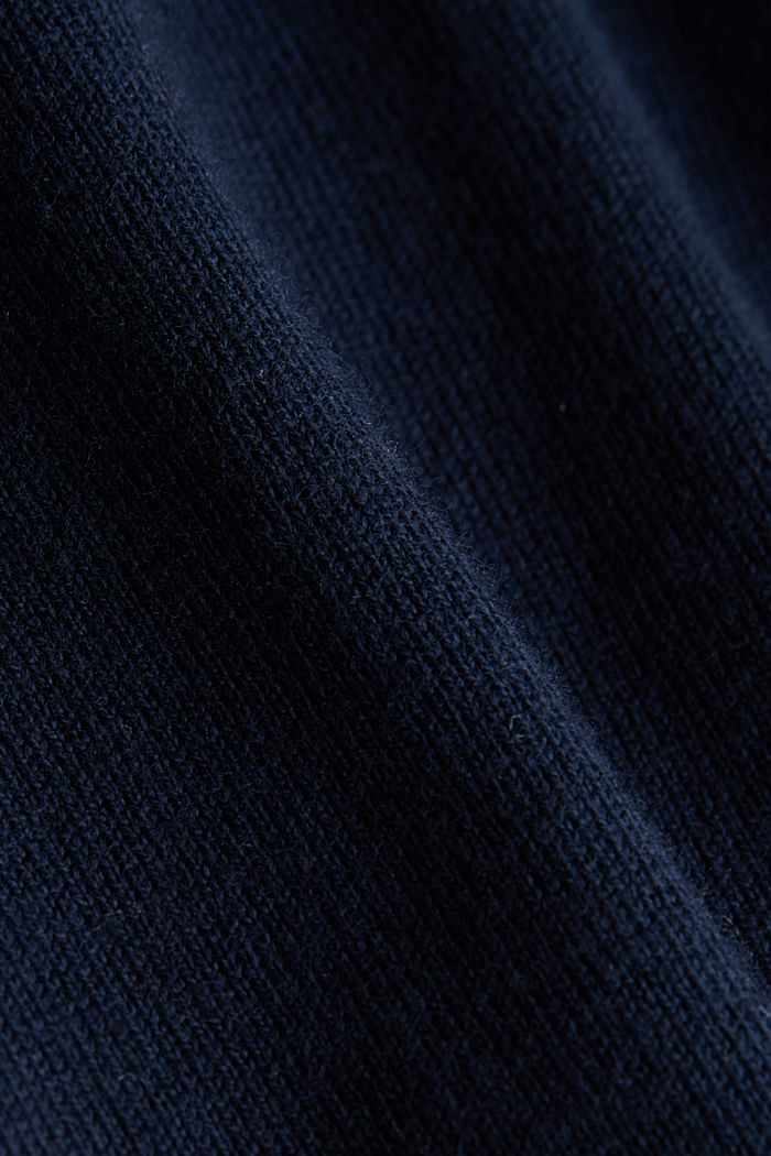 Polo neck jumper with cashmere, NAVY, detail image number 4