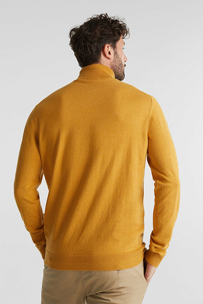 Polo neck jumper with cashmere, AMBER YELLOW, detail image number 3