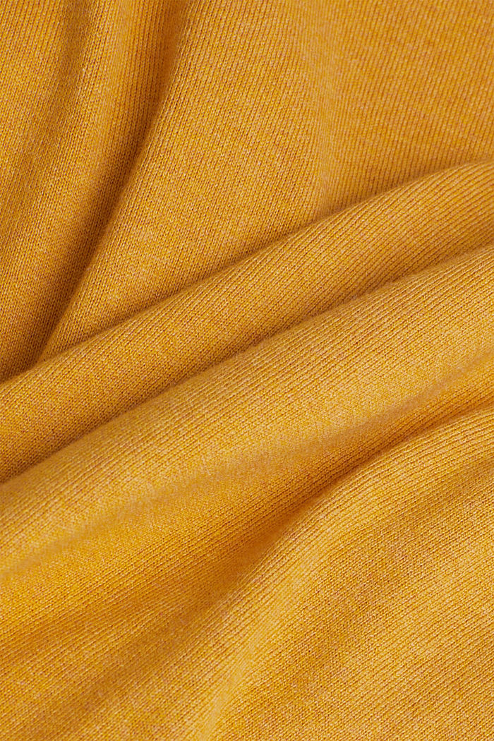 Polo neck jumper with cashmere, AMBER YELLOW, detail image number 4