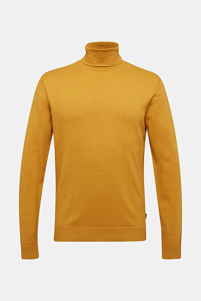 Polo neck jumper with cashmere, AMBER YELLOW, detail image number 6