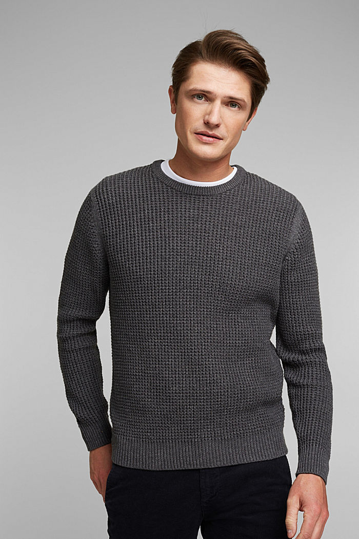 Pullover aus 100% Organic Cotton, DARK GREY, detail image number 0