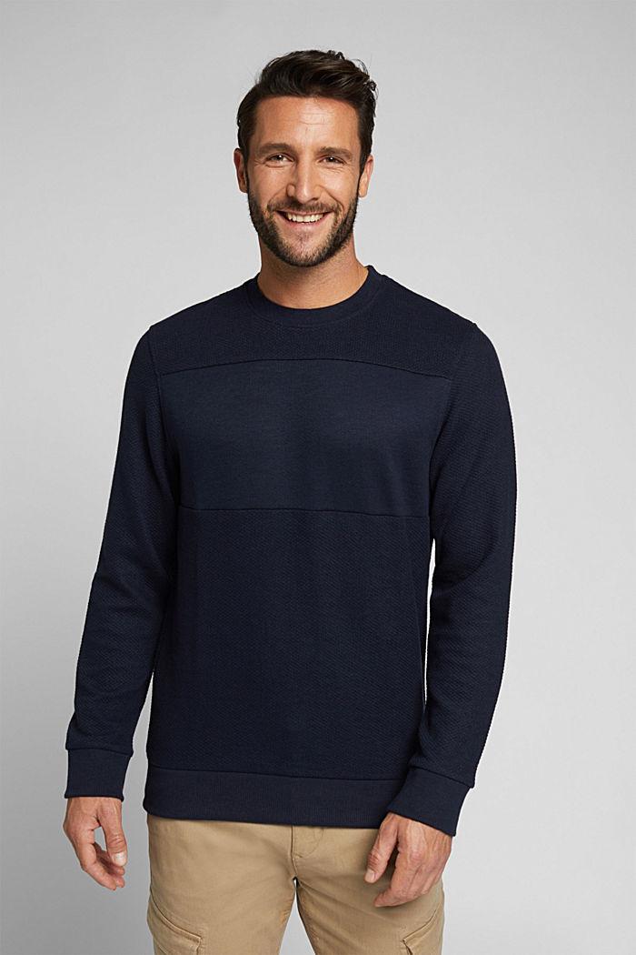 Textured sweatshirt with organic cotton, NAVY, detail image number 0