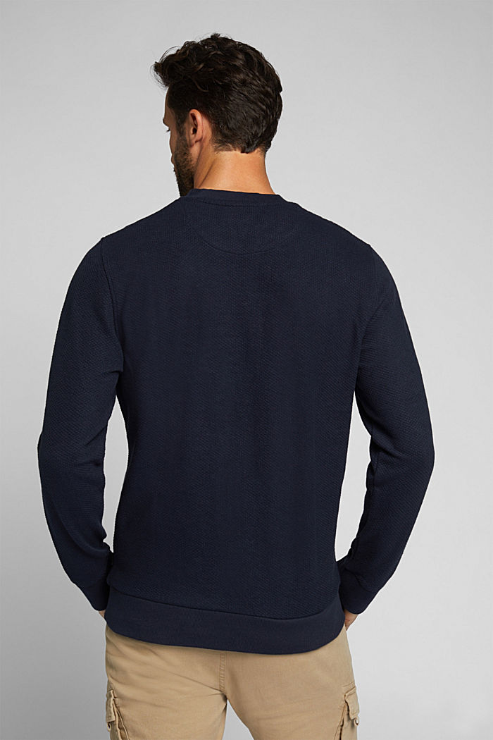 Textured sweatshirt with organic cotton, NAVY, detail image number 3