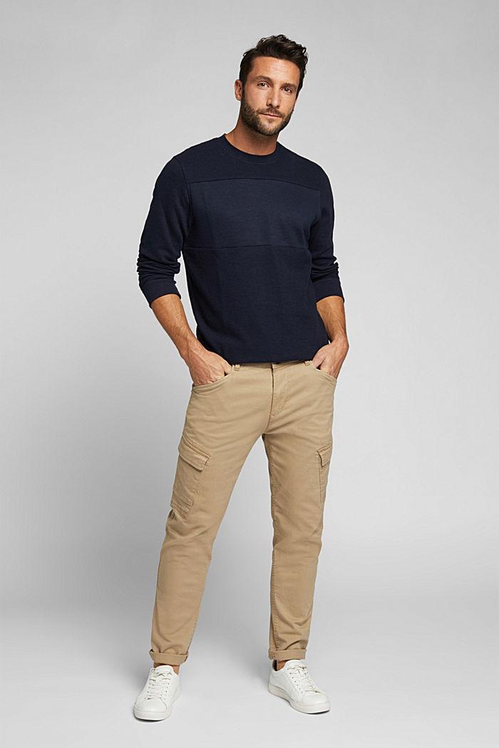Textured sweatshirt with organic cotton, NAVY, detail image number 1