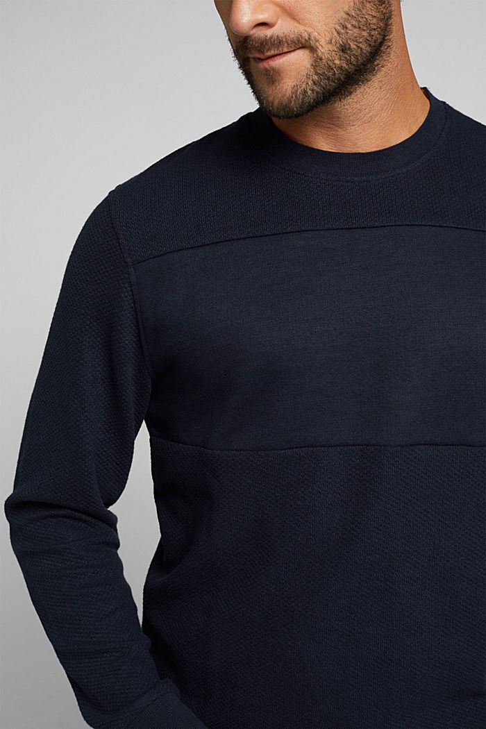 Textured sweatshirt with organic cotton, NAVY, detail image number 2