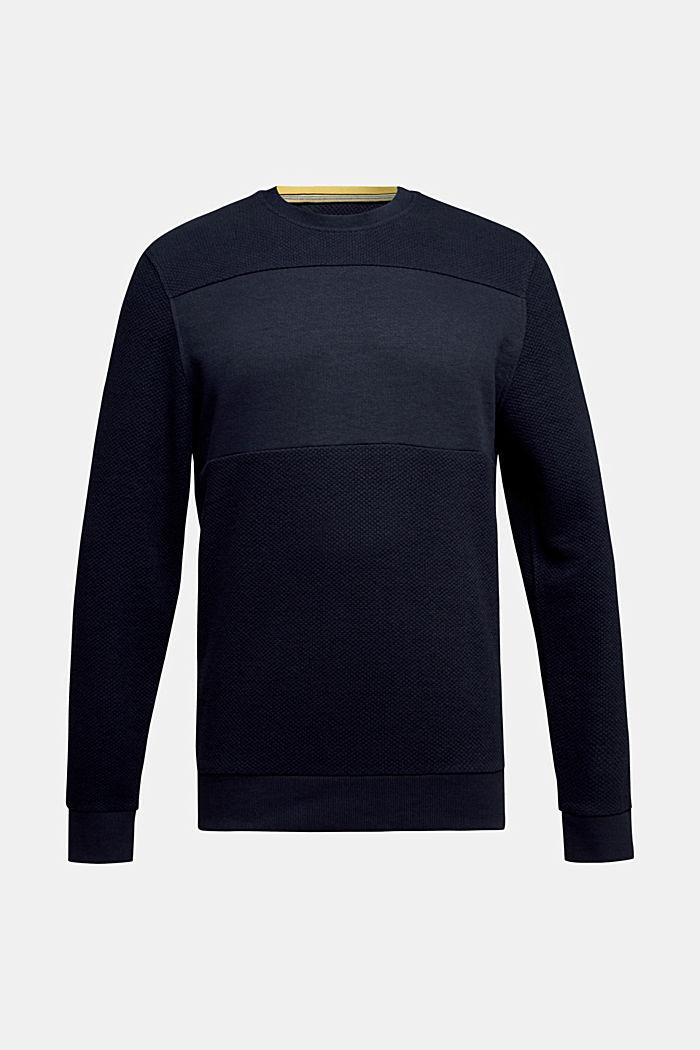 Textured sweatshirt with organic cotton, NAVY, detail image number 5