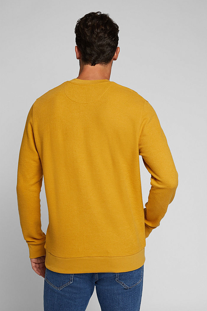 Textured sweatshirt with organic cotton, AMBER YELLOW, detail image number 3