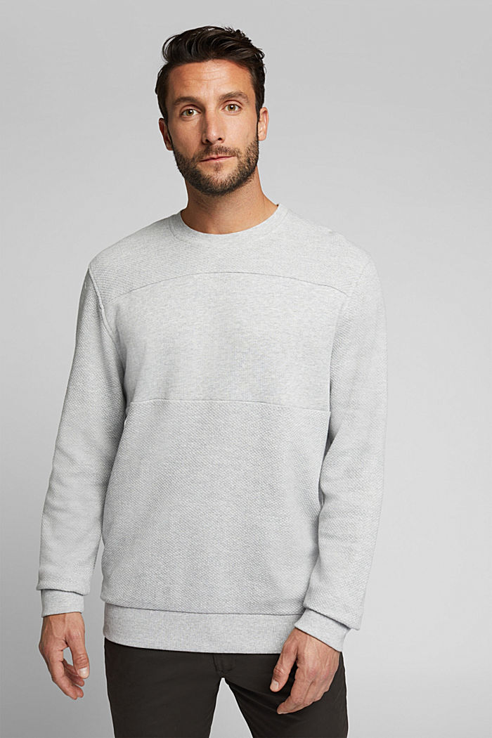 Textured sweatshirt, 100% organic cotton, LIGHT GREY, detail image number 0