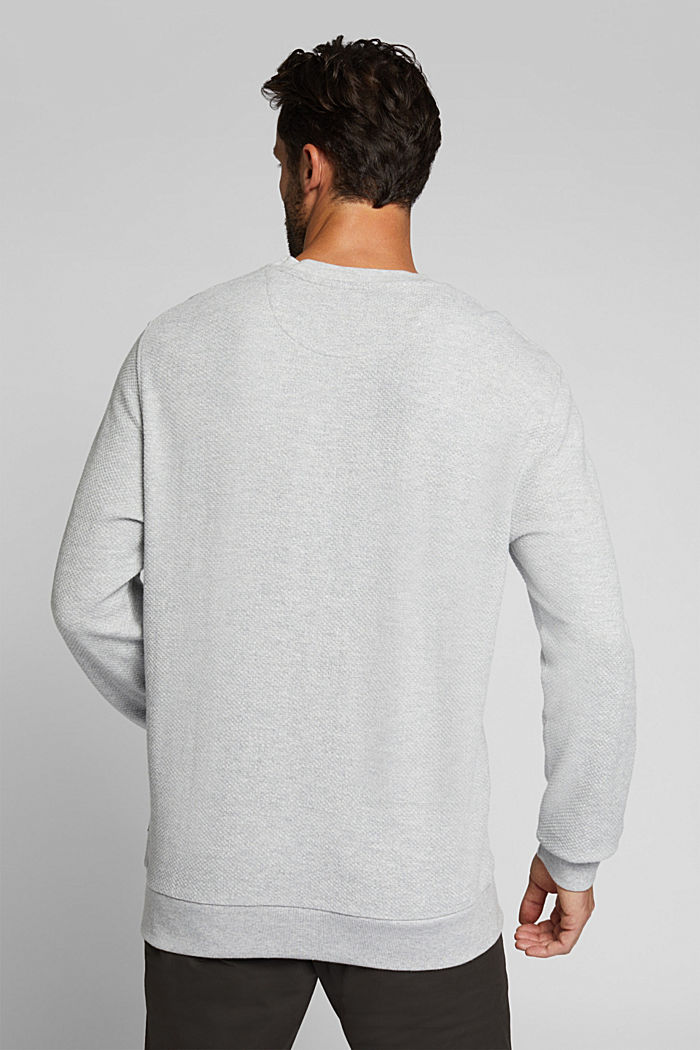 Textured sweatshirt, 100% organic cotton, LIGHT GREY, detail image number 3