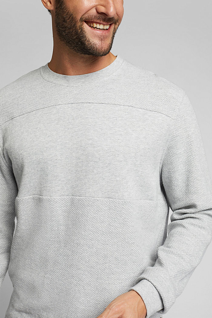 Textured sweatshirt, 100% organic cotton, LIGHT GREY, detail image number 2