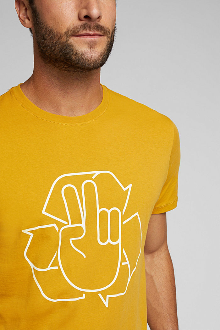 Jersey T-shirt made of 100% organic cotton, AMBER YELLOW, detail image number 1