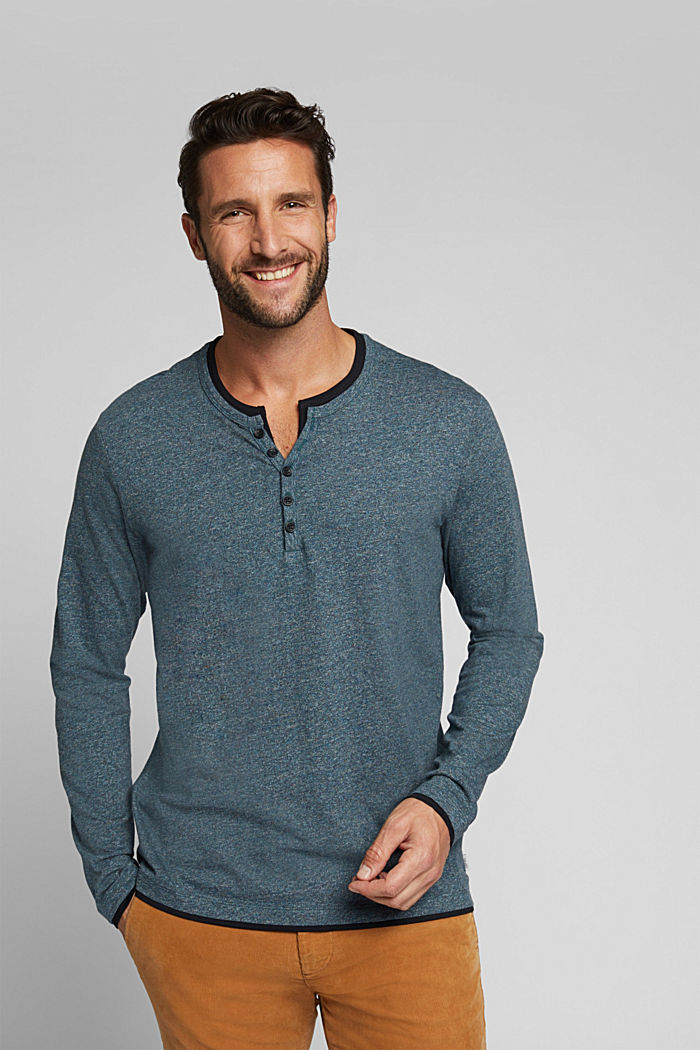 Jersey long sleeve top in 100% organic cotton, GREY BLUE, detail image number 0