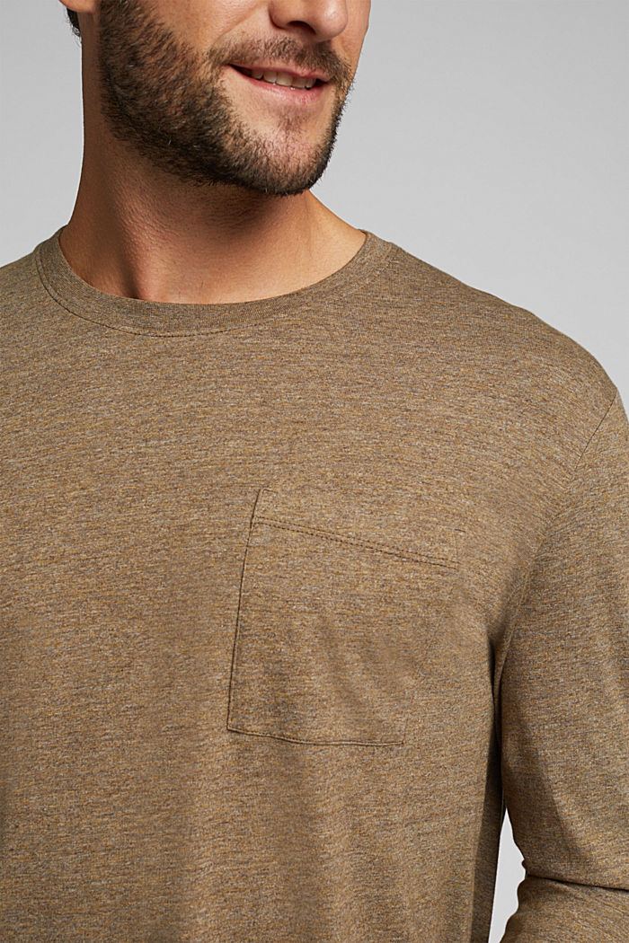 Long sleeve jersey top, 100% organic cotton, TOFFEE, detail image number 1