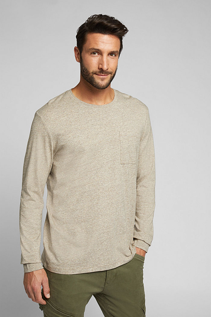 Long sleeve jersey top, 100% organic cotton, CREAM BEIGE, detail image number 0