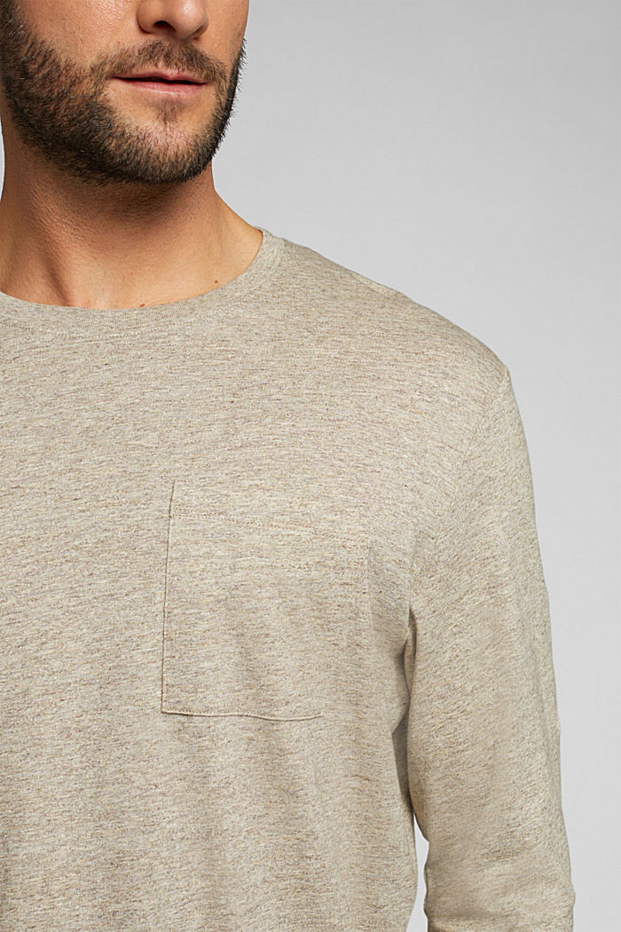Long sleeve jersey top, 100% organic cotton, CREAM BEIGE, detail image number 1