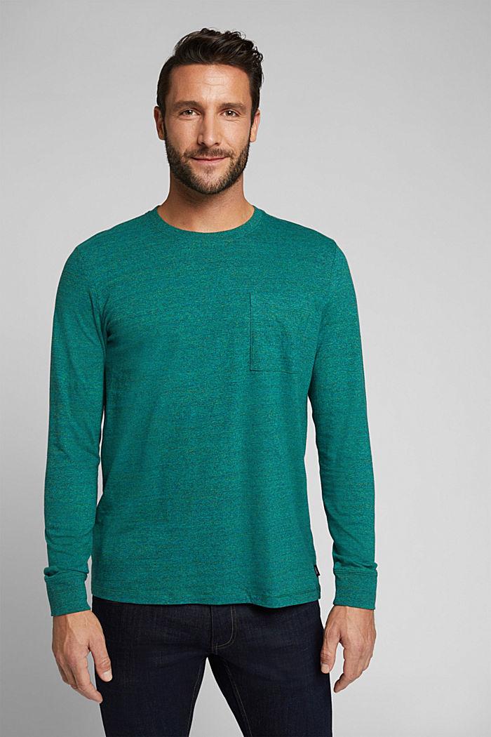 Long sleeve jersey top, 100% organic cotton, BOTTLE GREEN, detail image number 0