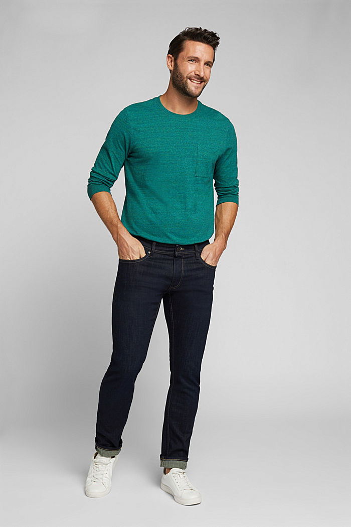 Long sleeve jersey top, 100% organic cotton, BOTTLE GREEN, detail image number 2