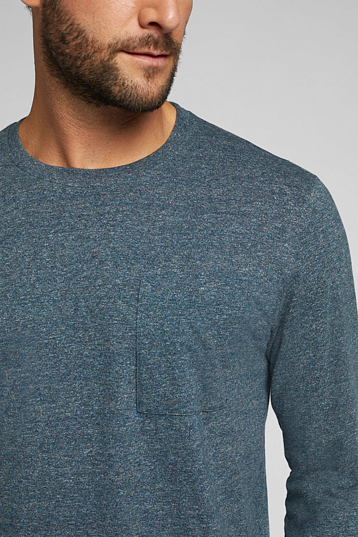 Long sleeve jersey top, 100% organic cotton, GREY BLUE, detail image number 1