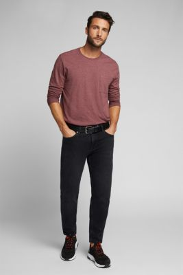 Long sleeve jersey top, 100% organic cotton, DARK RED 5, detail