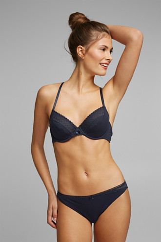 Unpadded underwire bra with lace