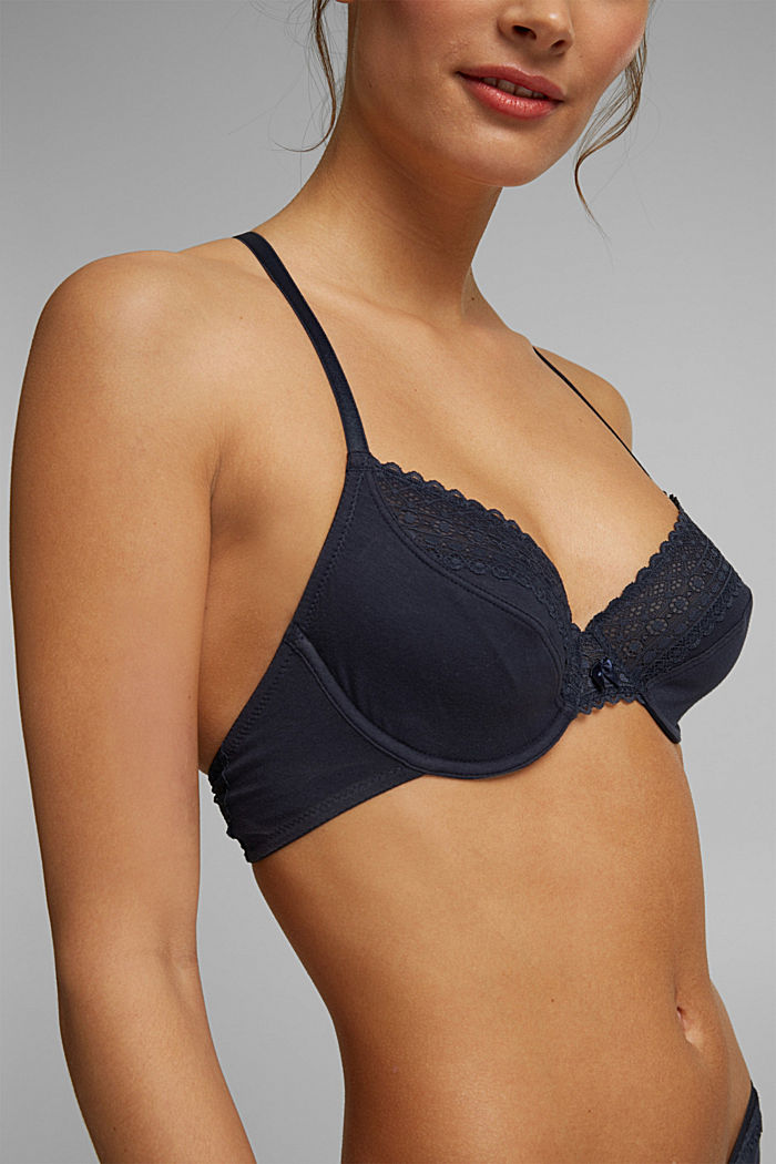 Unpadded underwire bra with lace, NAVY, detail image number 2