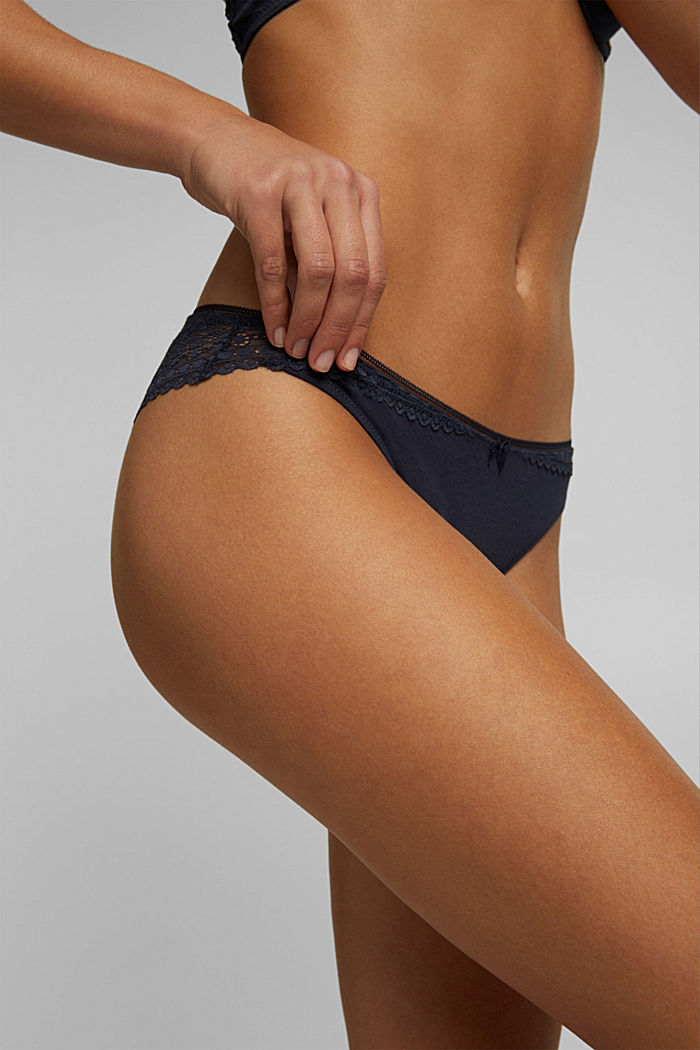 Hipster briefs made of jersey with lace, NAVY, detail image number 1