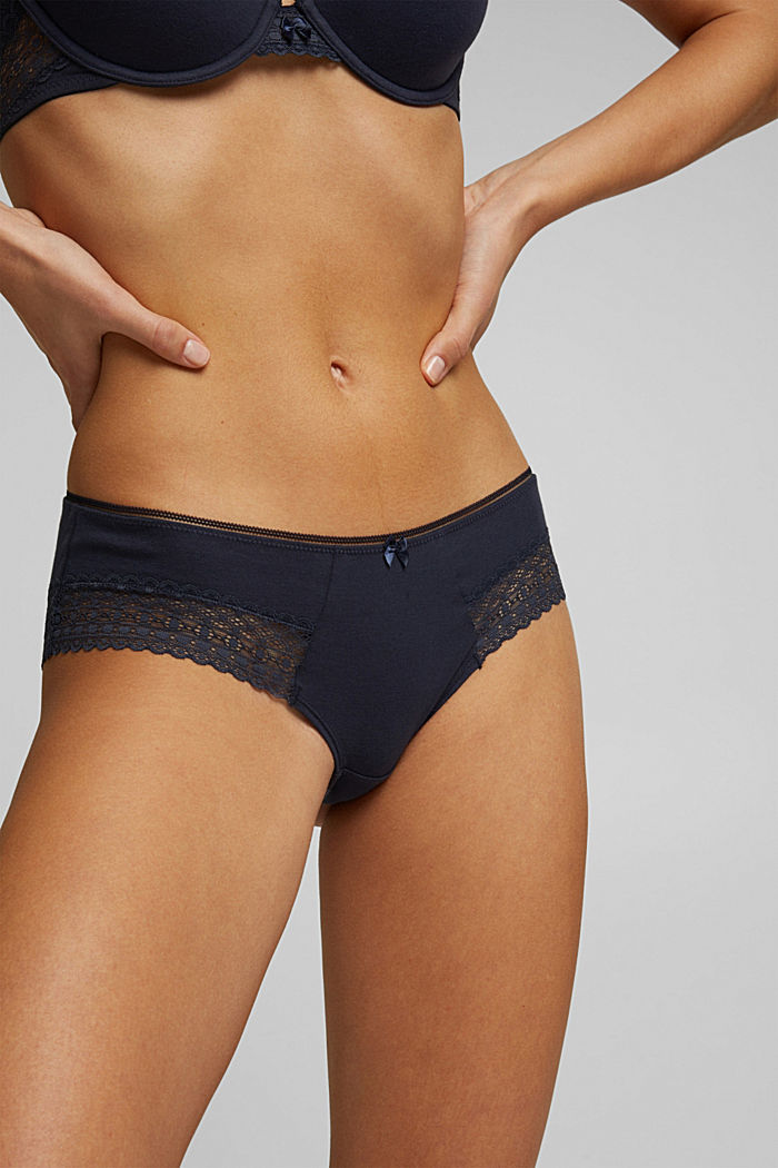 Brazilian hipster shorts with lace, NAVY, detail image number 1
