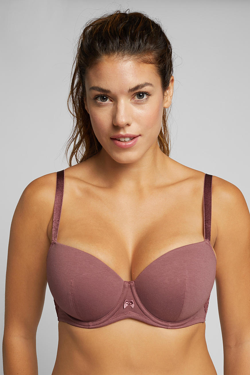 Padded underwire bra with lace for big cups