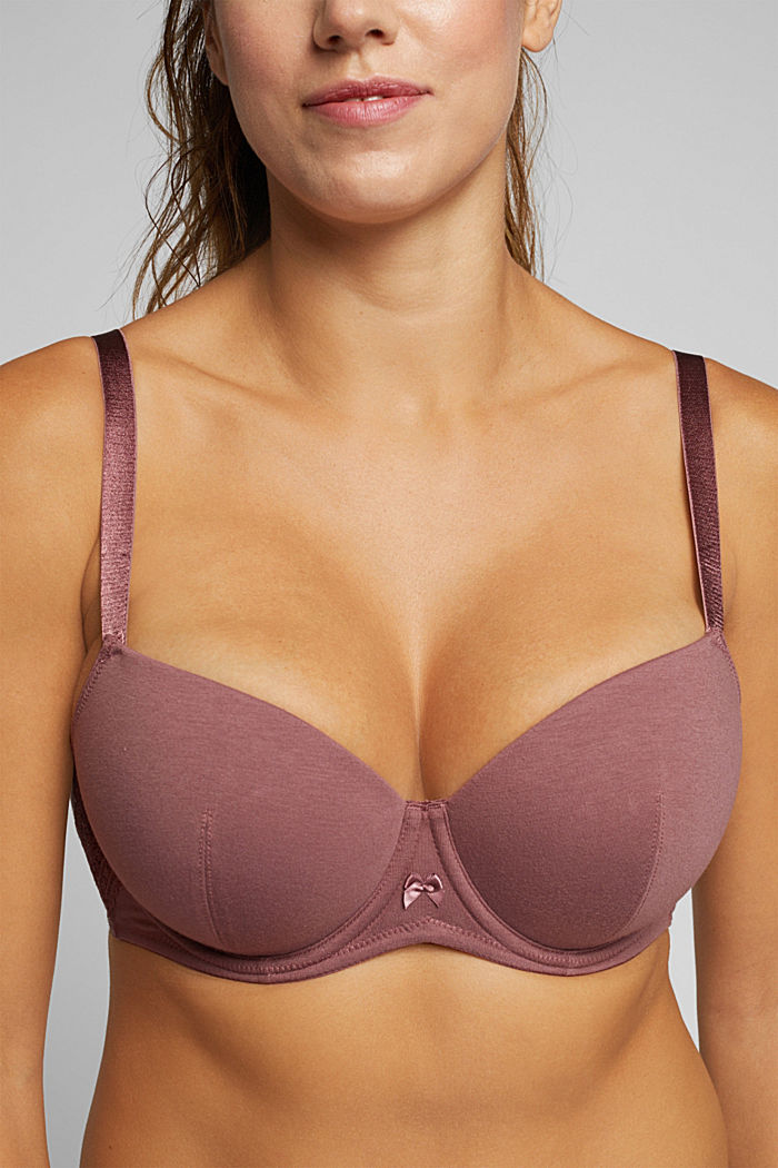 Padded underwire bra with lace for big cups, RUST BROWN, detail image number 3