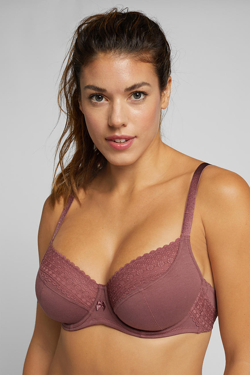 Unpadded underwire bra with lace, made especially for larger cup sizes