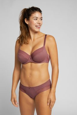 Unpadded underwire bra with lace, made especially for larger cup sizes, RUST BROWN, detail