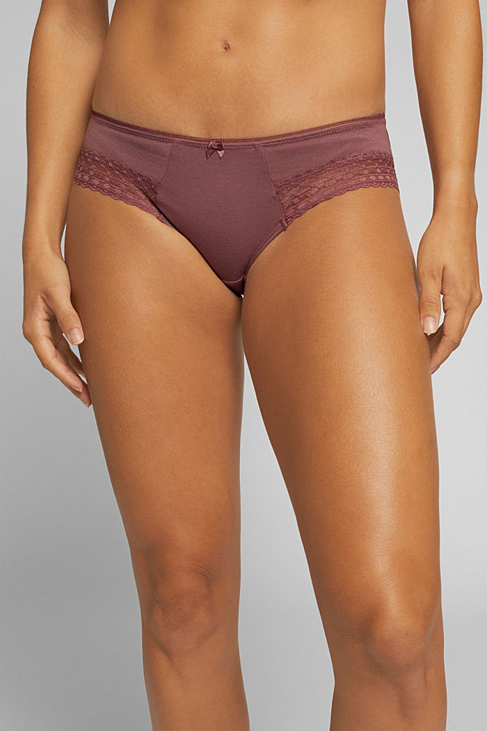 Hipster shorts with lace, RUST BROWN, detail image number 0