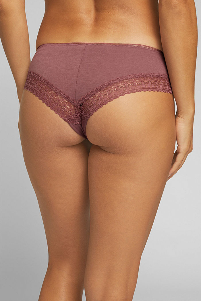 Hipster shorts with lace, RUST BROWN, detail image number 2