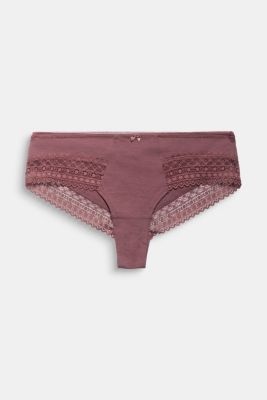 Hipster shorts with lace, RUST BROWN, detail