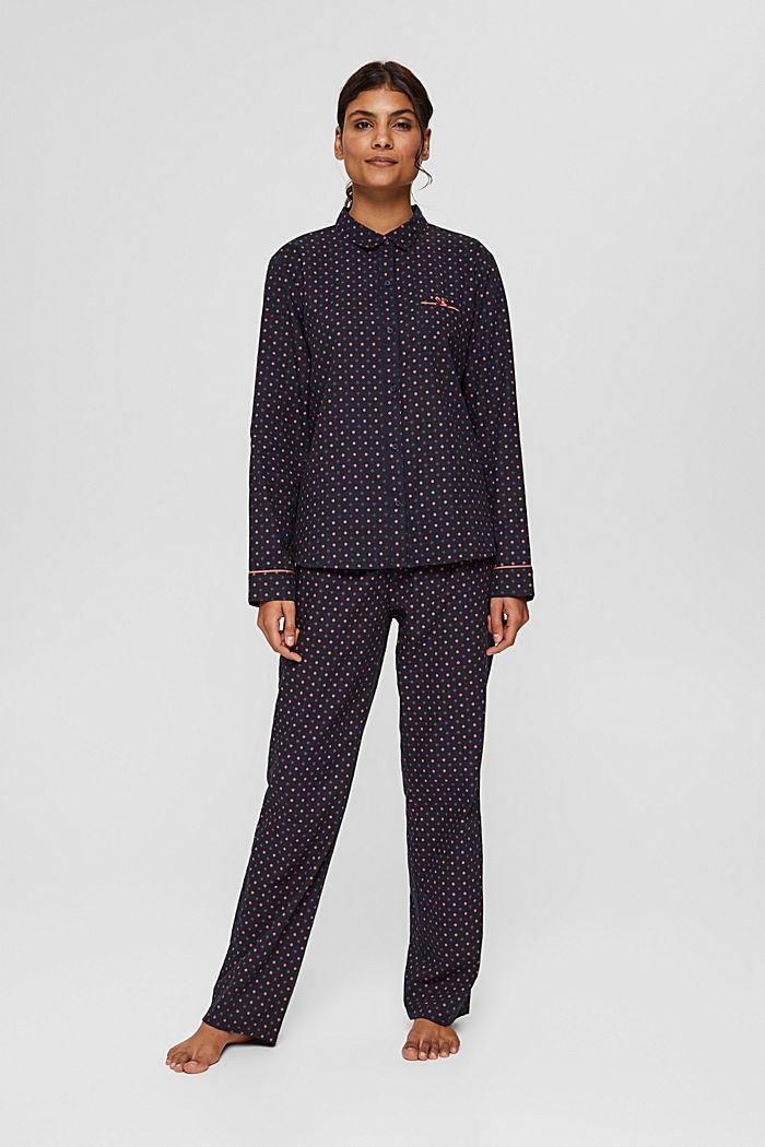 Pyjama mit Punkte-Print, 100% Bio-Baumwolle