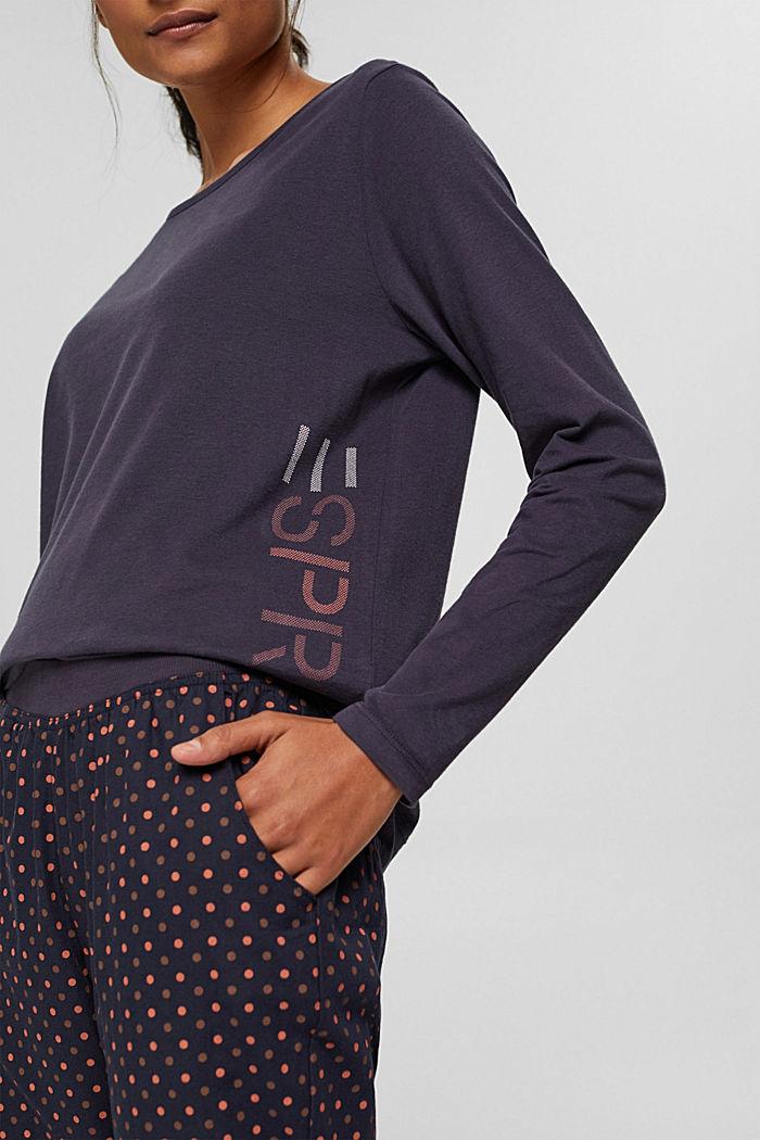 Jersey pyjama van 100% biologisch katoen, NAVY, detail image number 2