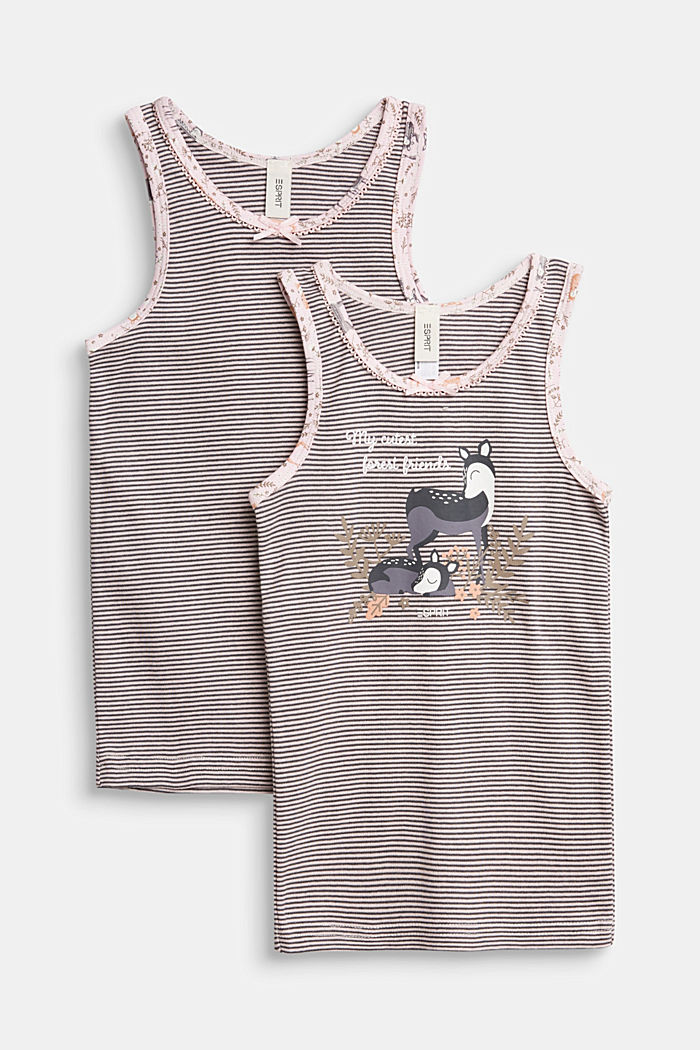Double pack of tops with a print, 100% cotton