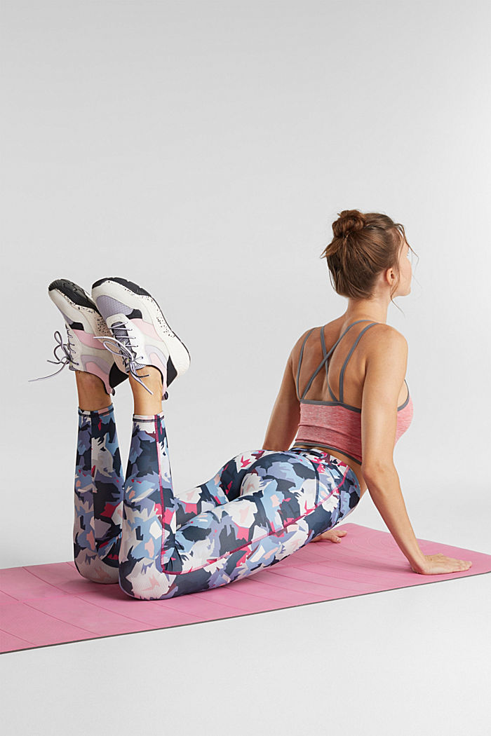 Active leggings with a print, E-DRY, NAVY, detail image number 1