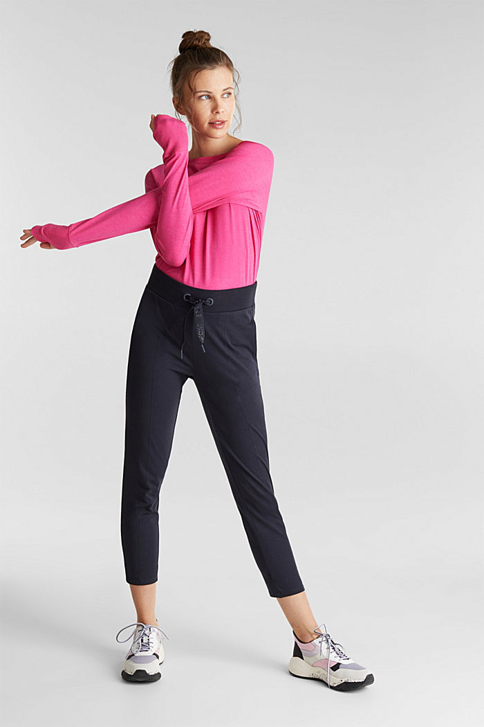 Cropped tracksuit bottoms, organic cotton, NAVY, detail image number 5