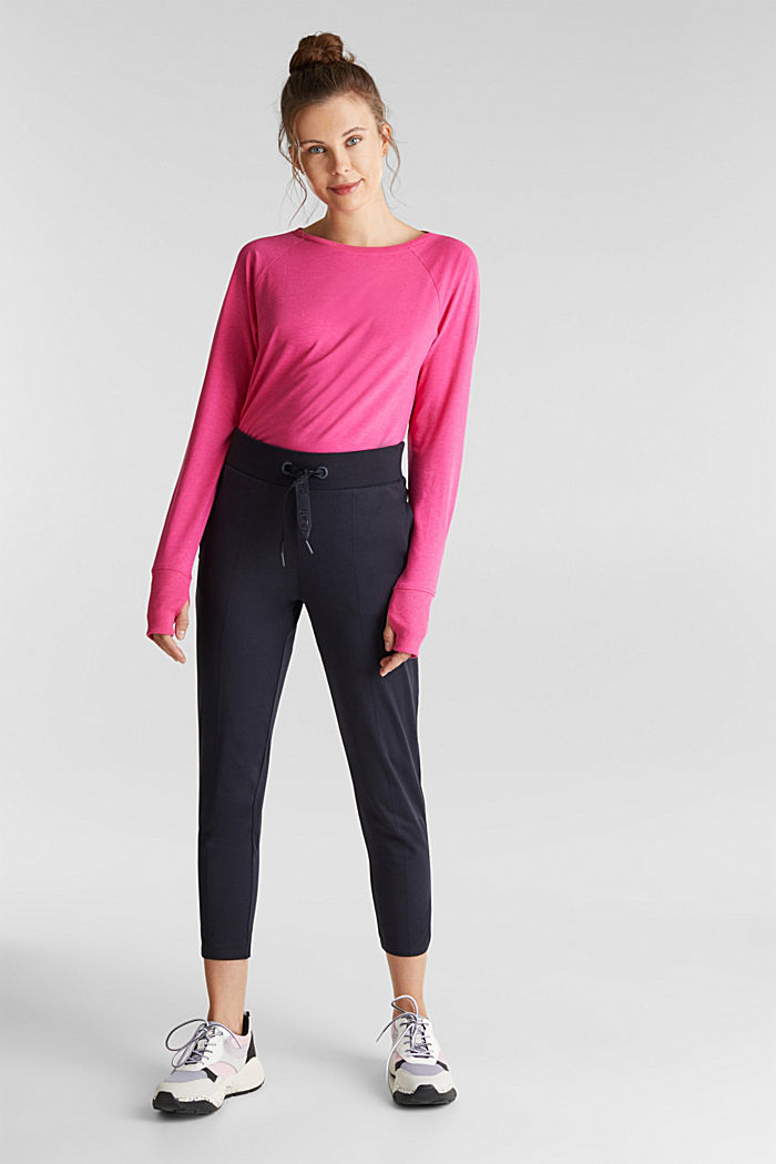 Cropped tracksuit bottoms, organic cotton, NAVY, detail image number 1