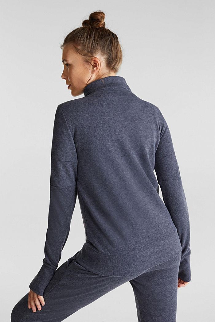 Melange sweatshirt cardigan, NAVY, detail image number 3
