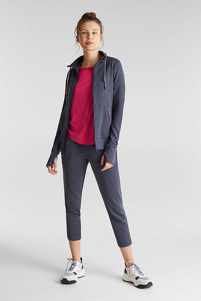 Melange sweatshirt cardigan, NAVY, detail image number 1