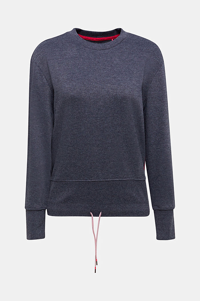 Sweatshirt with a wide ribbed trim, NAVY, detail image number 6