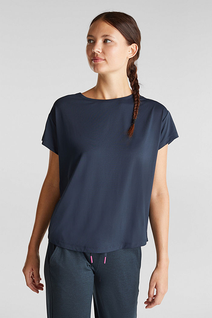 Active T-shirt with openwork pattern and edry, NAVY, detail image number 0