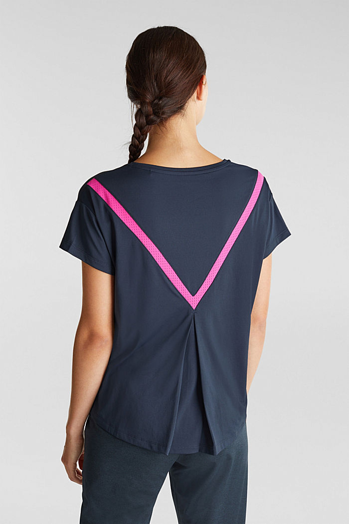 Active T-shirt with openwork pattern and edry, NAVY, detail image number 3