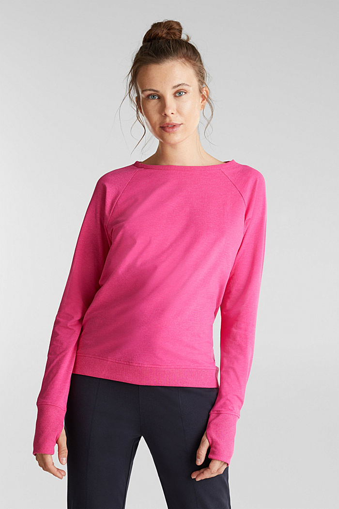 Active long sleeve top with organic cotton, PINK FUCHSIA, detail image number 0